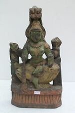 Vintage Old Hand Carved Wooden Goddess Laxmi Wall Hanging Figurine Statue NH2263