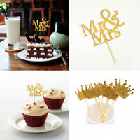 40pc Glitter Paper Mr Mrs Crown Cupcake Toppers Wedding Party Food Sticks