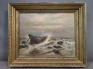 Antique NAUTICAL SCENE Old ROCKY Shore COAST Beach SHIPWRECK Oil PAINTING Frame