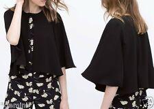 ZARA ♡ Black Cape Jacket Blazer Kimono Tunic Cape Gilet Veste size S 36 38