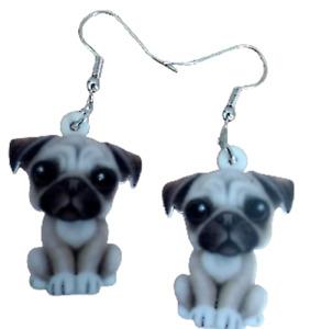 Pug Puppy Earrings Cute Sweet Novelty Fun Pretty Drop Quirky Flat 2 Sided