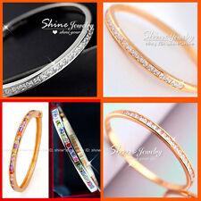 18K ROSE WHITE SOLID GOLD FILLED SQUARE SIMULATED DIAMOND BAND BANGLE BRACELET