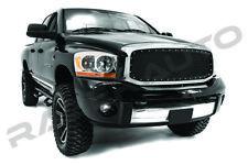 Black Mesh Grille+Rivet+Chrome Shell for 06-08 Ram 1500+06-09 Dodge Ram 2500+350