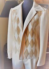 60s Vtg Mod Lilli Ann Knit 3 Pc Suit Pants Skirt Cream Tan Argyle Jacket Suede