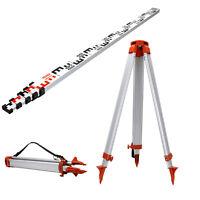 1.65M Aluminum Tripod + 5M Staff Set For Rotary Laser Leveltop