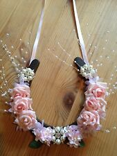 Bridal Wedding Lucky Horseshoe Gift Pink Rose Spray Pearls Personalised Plaque