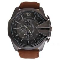 Fashion V6 Sport Oversize Big Dial Analog Casual Quartz Mens Leather Wrist Watch