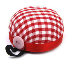 Red Plaid Grids Needle Sewing Pin Cushion Wrist Strap Tool Button Storage、New