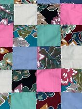 """Hawaiian Print Multi Color Patchwork Quilt Tropical Flowers Leaves 56"""" X 50"""""""