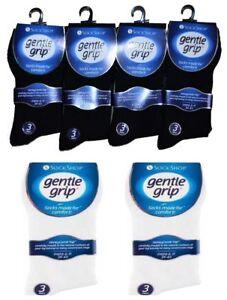 Men's Gentle Grip Socks Genuine Non Elastic Diabetic Soft Top White Black 6-11