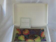"""Peggy Karr 10"""" Festive Fruit Tray Fused Art Glass Signed Platter Rectangular MIB"""