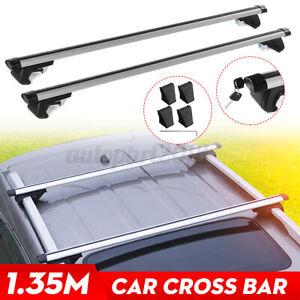 Universal Car Top Roof Rail Rack Cross Bars Luggage Aluminium Adjustable Silver