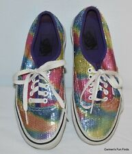 VANS Womens Size 8 Men's 6.5 Rainbow Sequined Authentic Sneakers Shoes