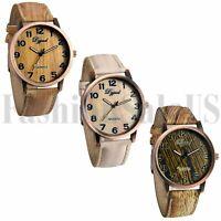 Luxury Men's Women's Wood Grain Watch Quartz Leather Wristwatches Fashion Gift