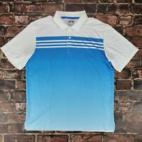 Adidas Climacool Short Sleeve Golf Polo Shirt Men's Size Large L Blue White