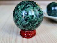 ~55mm Green Jade Nephrite Sphere Natural Sparkling Jadeite Mineral. ~280g
