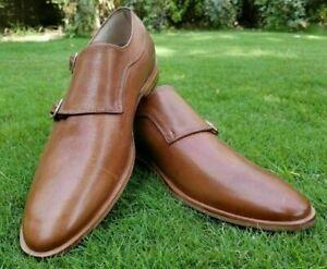 Chaussures à la main en cuir marron véritable double moine pour hommes