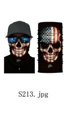 Face Mask Bandana Neck Gaiter Head Band Multi-Use Tube Scarf USA Flag/Skull