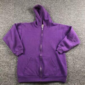 Vintage 90s Hanes Her Way Full Zip Up Sweatshirt Extra Large Purple Blank