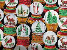 Snow Globe Christmas Bird Santa Colorful Cm3199 Glitter TT Cotton Fabric