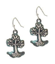 Tree of Life Earring Patina Antiqued Silver Colored Drop Dangle