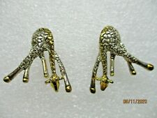 "GOLD & SILVER TONE 1 1/4"" COMICAL METAL GIRAFFE PIERCED EARRINGS"