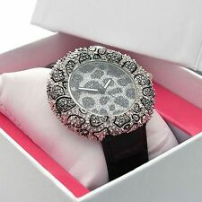 Henley Ladies Watch Stone Cluster, Leopard Design Dial, Gift Boxed #268