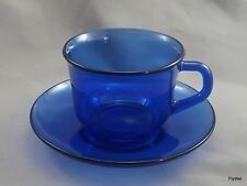 Arcoroc Saphir Tea Coffee Cup and Saucer 6 Ounce Cobalt Blue Glass