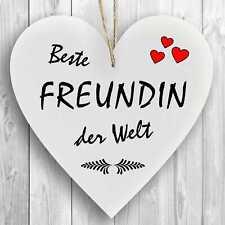 Herzschild Holzherz Holzschild 16 x 16 cm Beste Freundin der Welt weiß Dekoschil