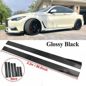 86.6'' Side Skirt Rocker Panel Lip Glossy Black For Infiniti Q50 Q60 Q70 G25 G37