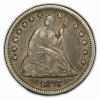 1875 25c Seated Liberty Quarter - Original High-Grade Coin - SKU-Y1927