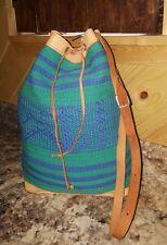 Vtg Ethnic HAND WOVEN Kilim LEATHER Serape Blanket Market Draw~Bucket Tote Bag