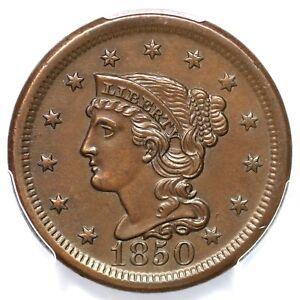 1850 N-5 R-4 PCGS MS 62 BN Braided Hair Large Cent Coin 1c