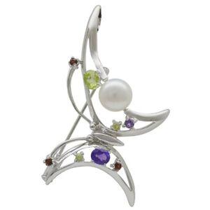 Brosche / Anhänger Schmetterling Perle Amethyst Granat Peridot 925 Silber, Damen