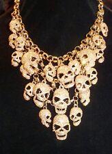 Jane Stone Rare Punk Gothic Huge Lucky Happy AB Gold Rhinestone Skulls Necklace