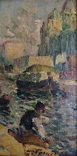 ECOLE FRANÇAISE IMPRESSIONNISTE.Pêcheur au bord du canal.Huile/panneau.SBD.12x22