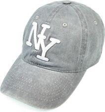 Men Women New York Baseball Cap Washed Cotton Embroidered Relaxed Hat Gray
