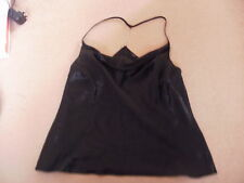 Ladies black satin feel strappy top with silver chain detail size 14 FREEPOST