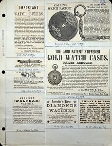 Vtg 1868+ Tiffany Collins Waltham Brown Co Watch NY Ad TF Healy Collection E-050