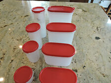 Tupperware 8-piece Modular Mates Oval Pantry Set-Passion Red
