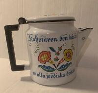 Vintage Berggren Ware Floral Enamelware Coffee Pot Kettle Rosemaled Sweden 6 Cup
