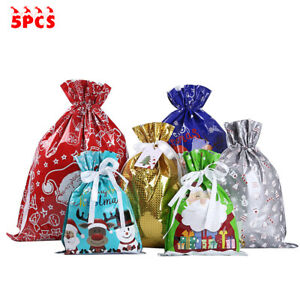 5 Large Drawstring Christmas Gift Bag Party Candy Bags Cookie Wrapping Pouch
