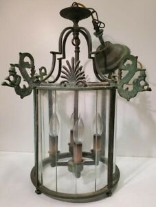Vintage Green Metal & Glass Hanging Hall Light / Lamp / lantern / Chandelier