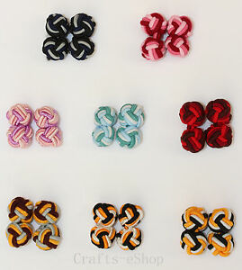 New One Pair Silk Knot Cufflinks 6 Colours (Three Tone)