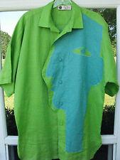 Alion Honolulu Short Sleeve 100% Linen Green Silhouette Face Casual Shirt Small