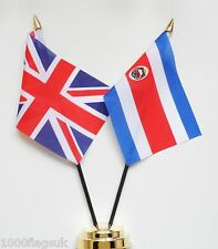 United Kingdom & Costa Rica Double Friendship Table Flag Set