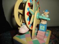 Handmade Wooden Wind Up MUSICAL FERRIS WHEEL Baby Mice & Bear Vintage Moving