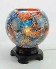 ELECTRIC OIL TART WARMER BLUE CRACKLED GLASS FRAGRANCE OIL NIGHTLIGHT WOOD Large