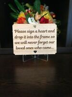 Guest Book Alternative Sign, Drop Box Instructions Sign, wooden hearts,