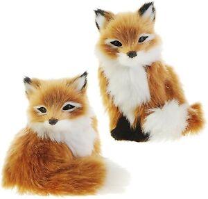 Raz Imports Fox Christmas Tree Ornaments Plush Faux Fur Set of 2